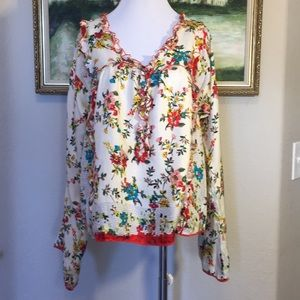 Johnny Was Floral Silk Blouse